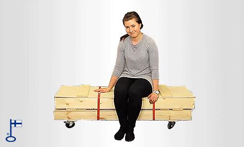 Messuseinän kätevää kuljetusta pyörällisellä boksilla, laatikolla tai laukkua käyttäen